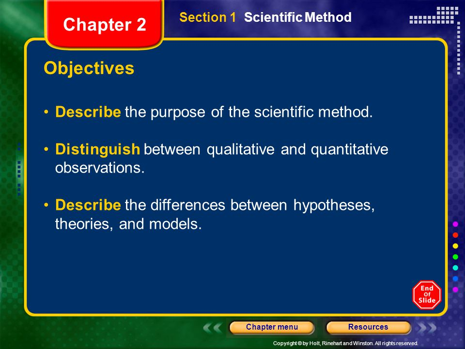 Chapter 2 Objectives Describe the purpose of the scientific method.