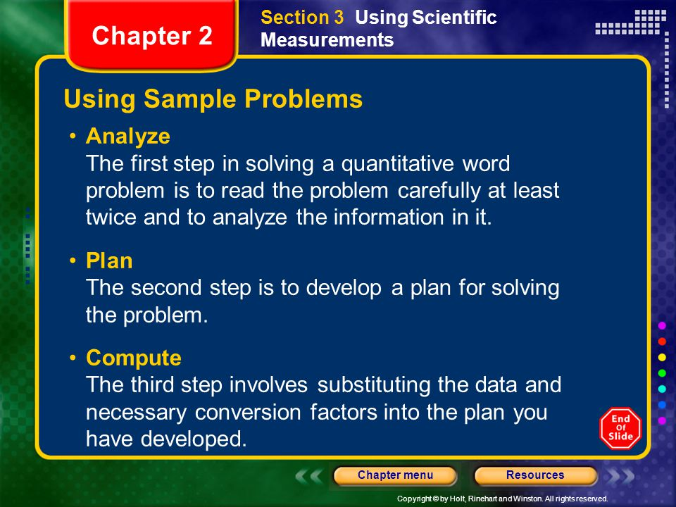 Chapter 2 Using Sample Problems Analyze