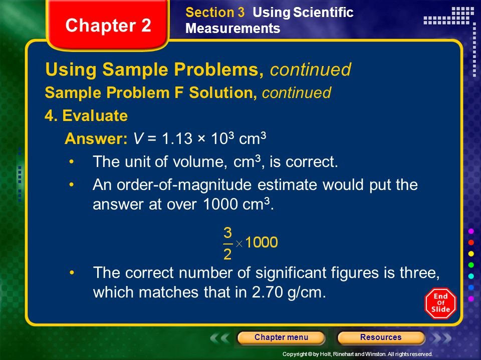 Using Sample Problems, continued