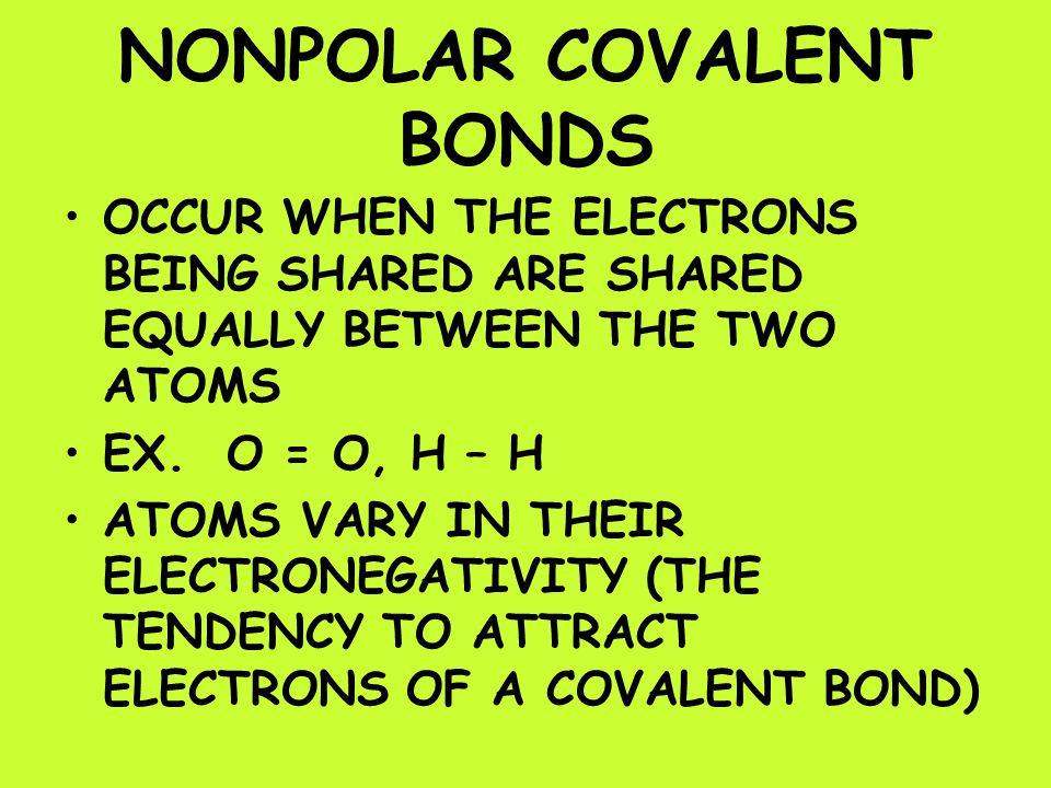 NONPOLAR COVALENT BONDS