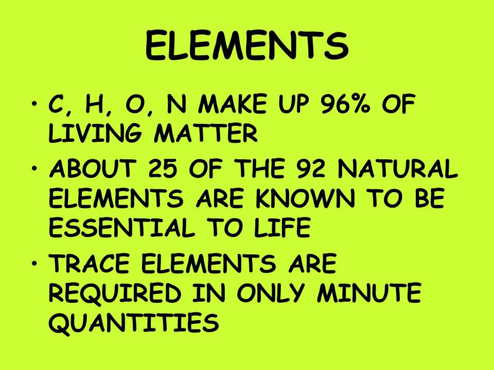 ELEMENTS C, H, O, N MAKE UP 96% OF LIVING MATTER