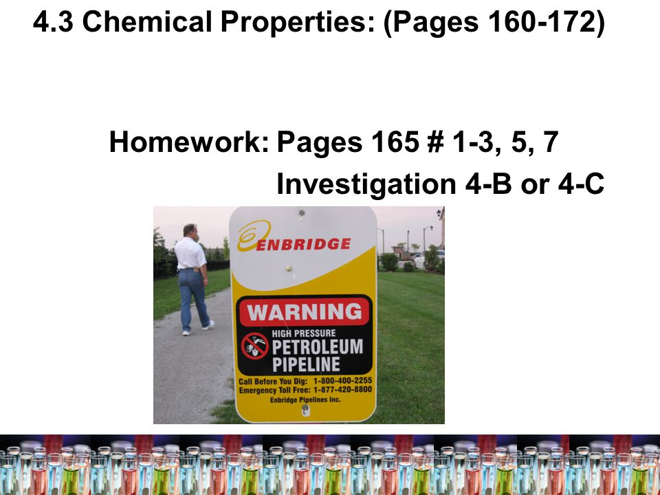 4.3 Chemical Properties: (Pages 160-172)
