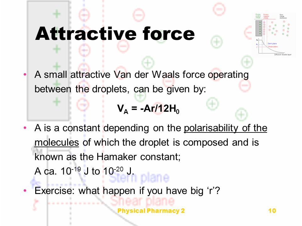 Physical Pharmacy 2 Attractive force. A small attractive Van der Waals force operating between the droplets, can be given by: