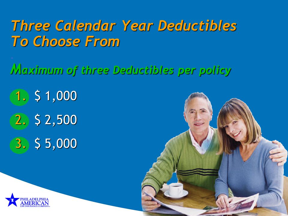 Three Calendar Year Deductibles To Choose From