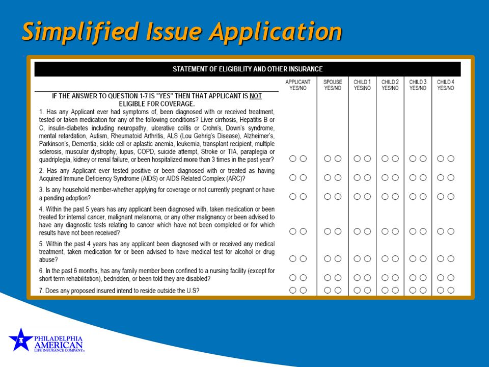 Simplified Issue Application .