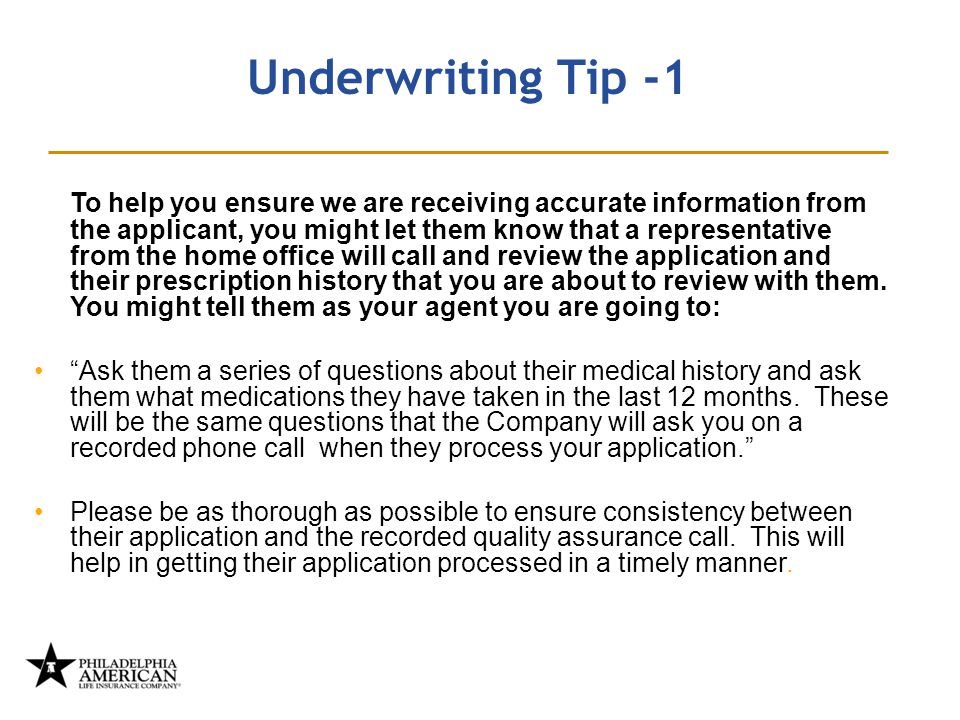 It's time for a change… Underwriting Tip -1