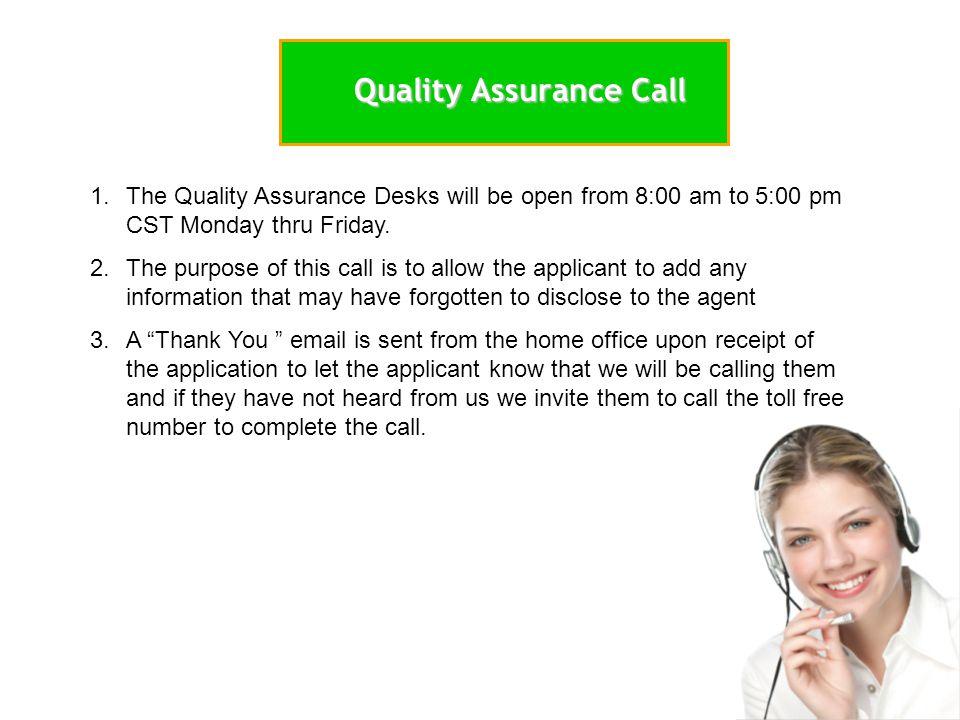 Quality Assurance Call