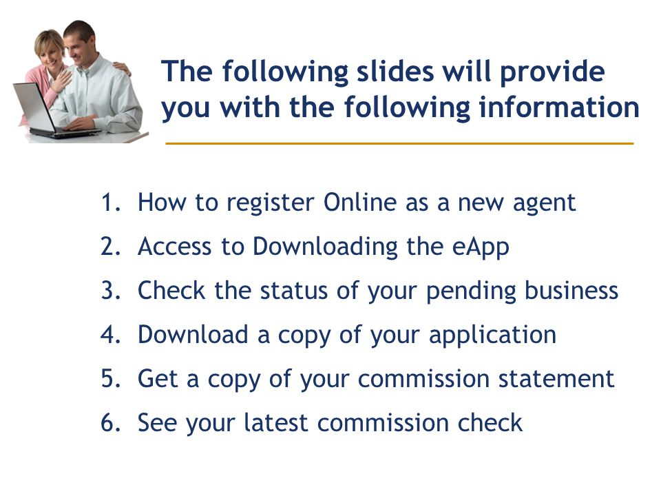 The following slides will provide you with the following information