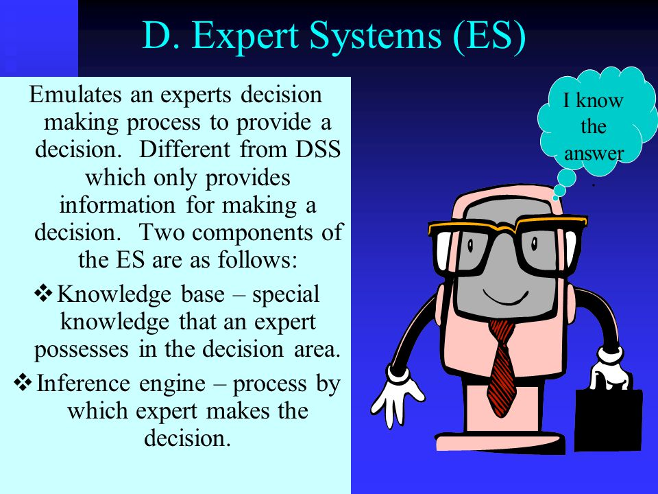 Inference engine – process by which expert makes the decision.