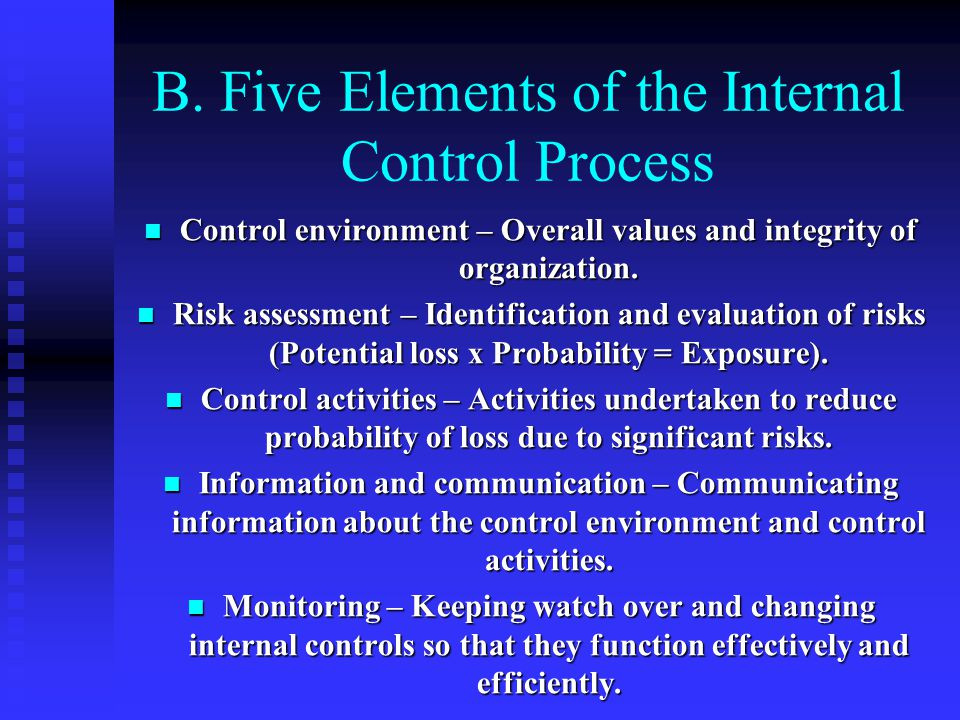 B. Five Elements of the Internal Control Process