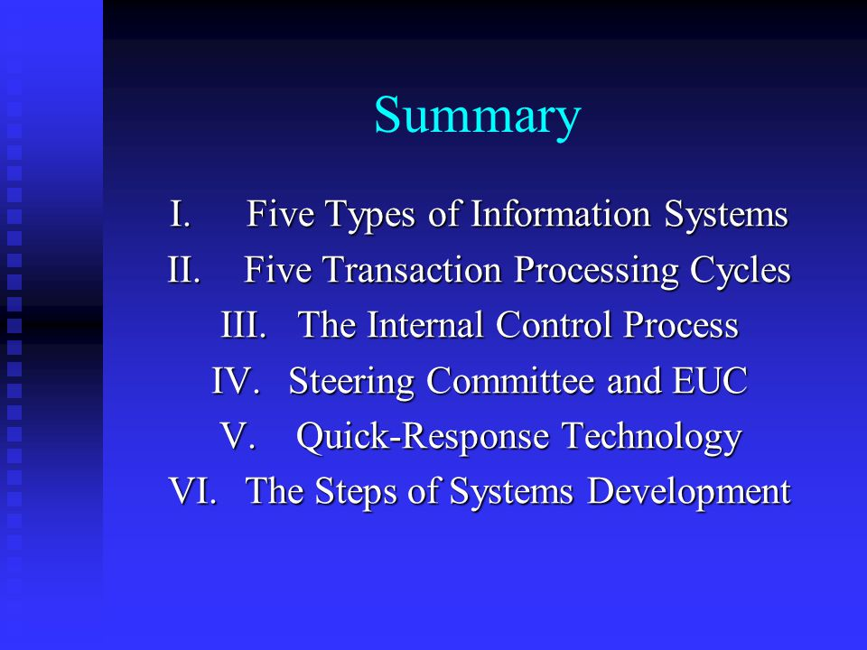 Summary Five Types of Information Systems