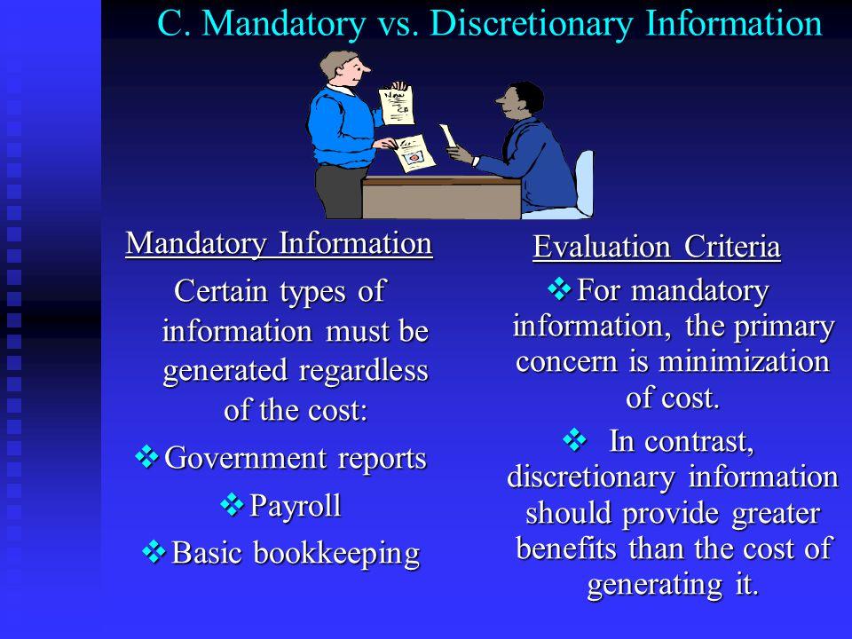 C. Mandatory vs. Discretionary Information