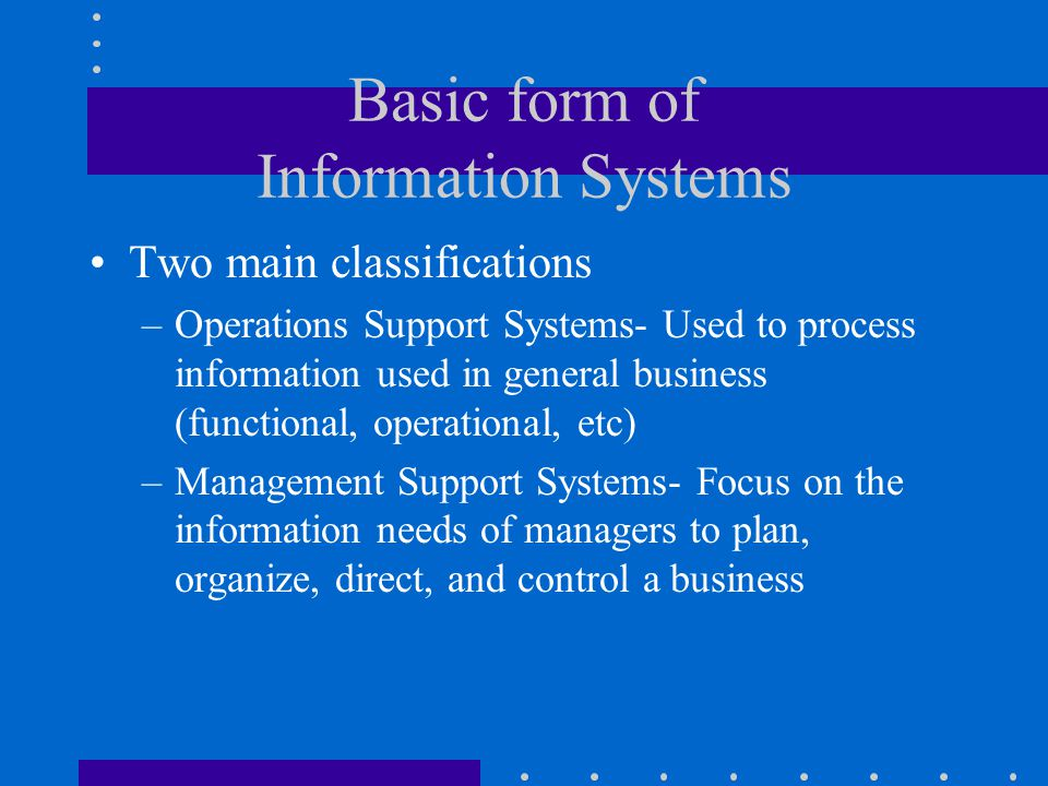 Basic form of Information Systems
