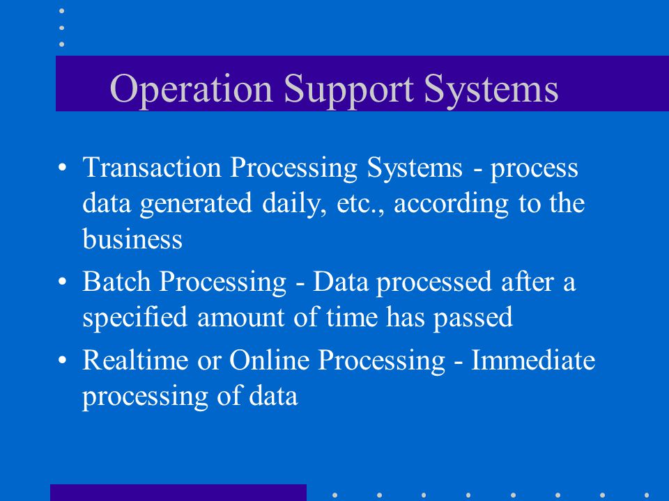 Operation Support Systems