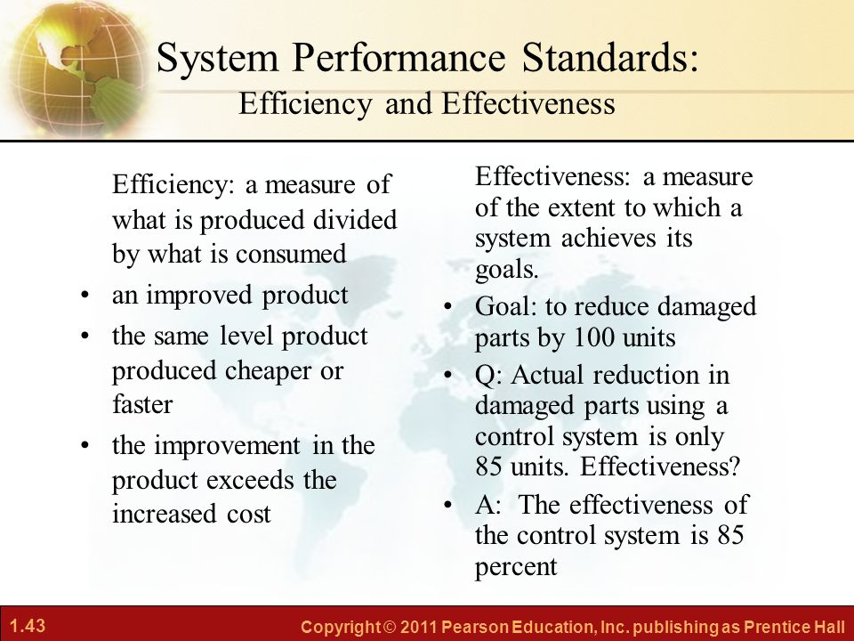 System Performance Standards: Efficiency and Effectiveness