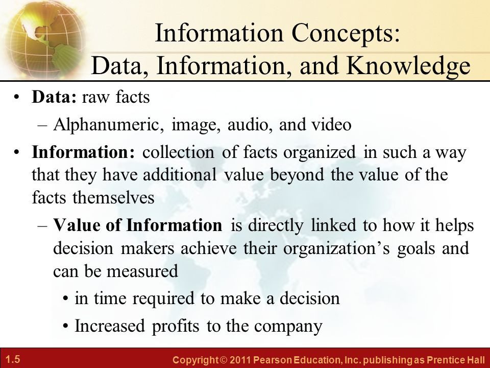 Information Concepts: Data, Information, and Knowledge