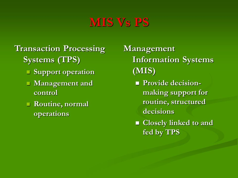 MIS Vs PS Transaction Processing Systems (TPS)