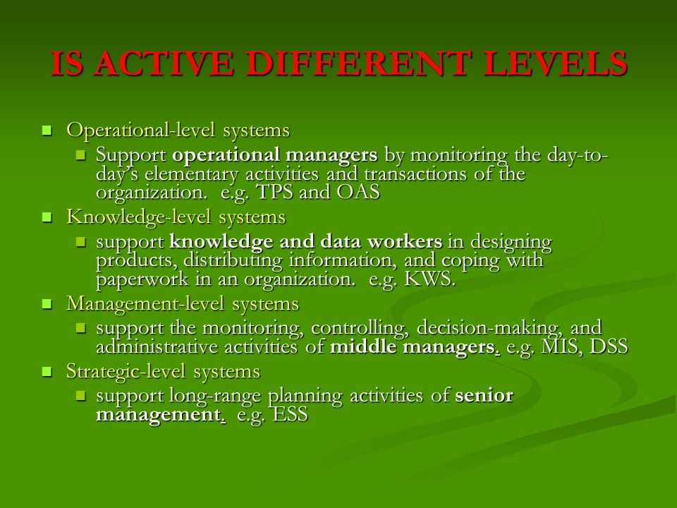 IS ACTIVE DIFFERENT LEVELS