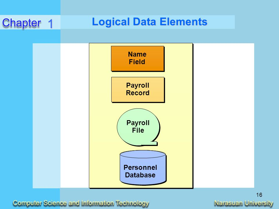 1 Logical Data Elements Name Field Payroll Record File Personnel