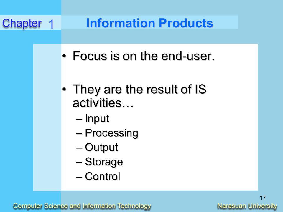 Focus is on the end-user. They are the result of IS activities…