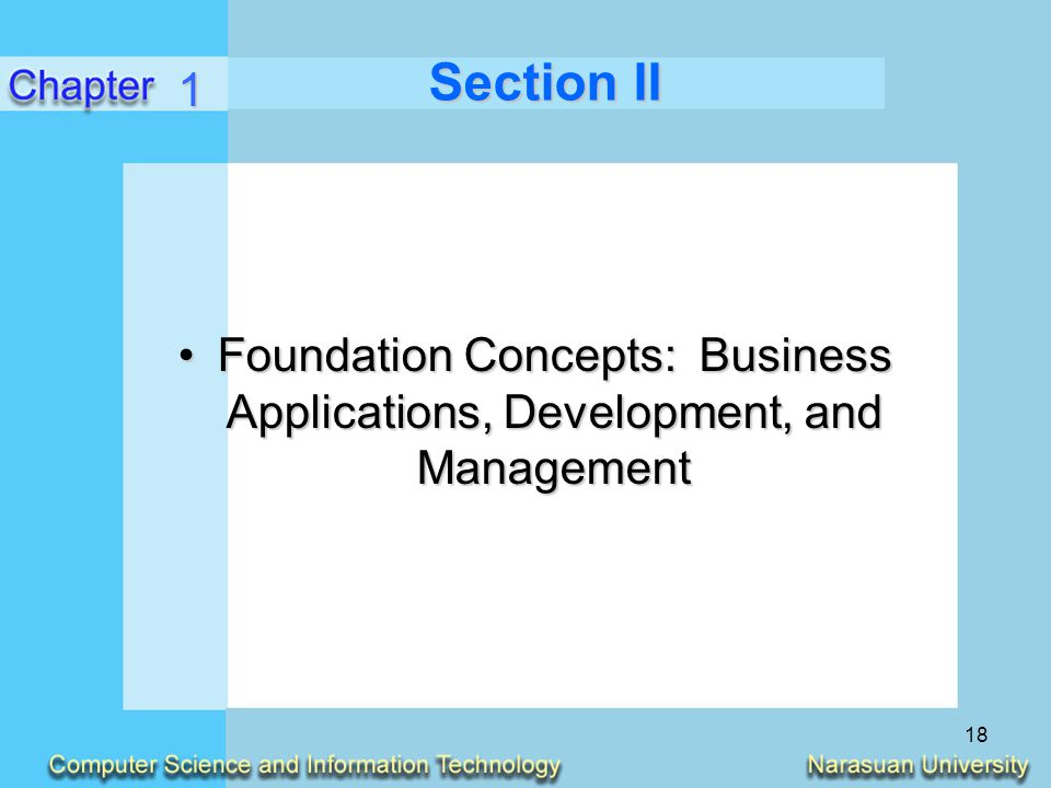 Section II 1 Foundation Concepts: Business Applications, Development, and Management