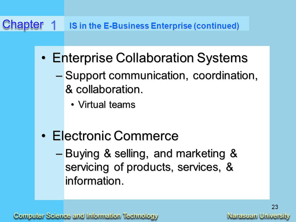 IS in the E-Business Enterprise (continued)