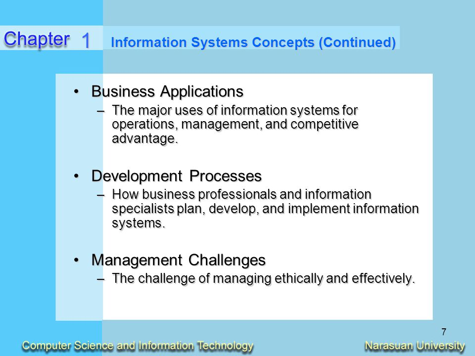 Information Systems Concepts (Continued)