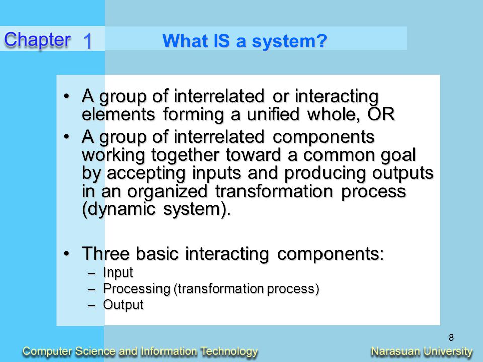 1 What IS a system A group of interrelated or interacting elements forming a unified whole, OR.