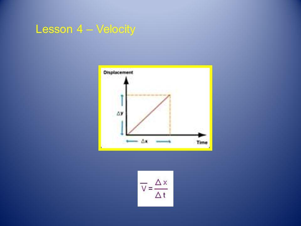 Lesson 4 – Velocity