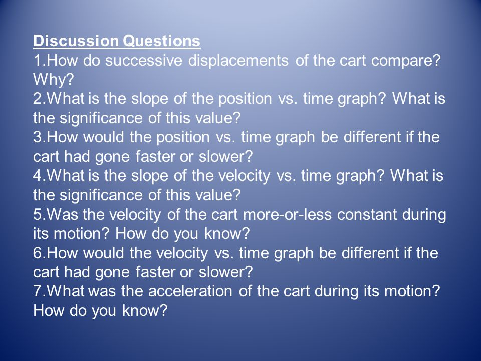 Discussion Questions How do successive displacements of the cart compare Why