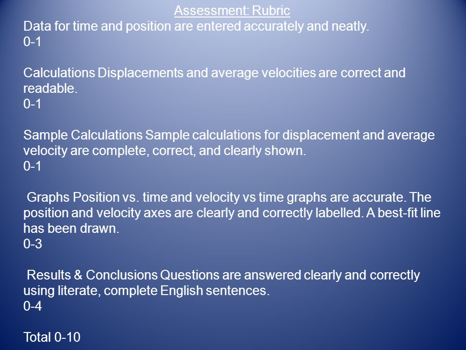 Assessment: Rubric Data for time and position are entered accurately and neatly. 0-1.