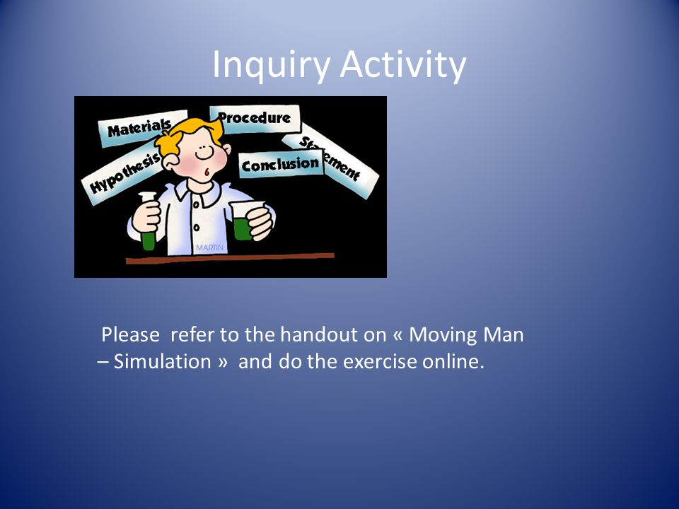 Inquiry Activity Please refer to the handout on « Moving Man – Simulation » and do the exercise online.