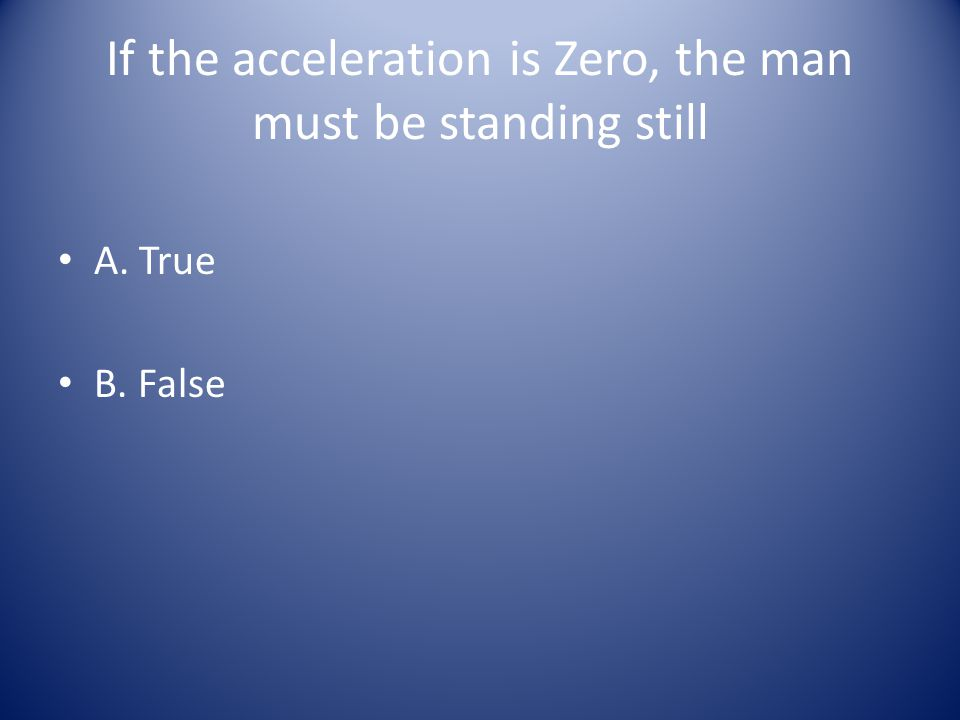 If the acceleration is Zero, the man must be standing still