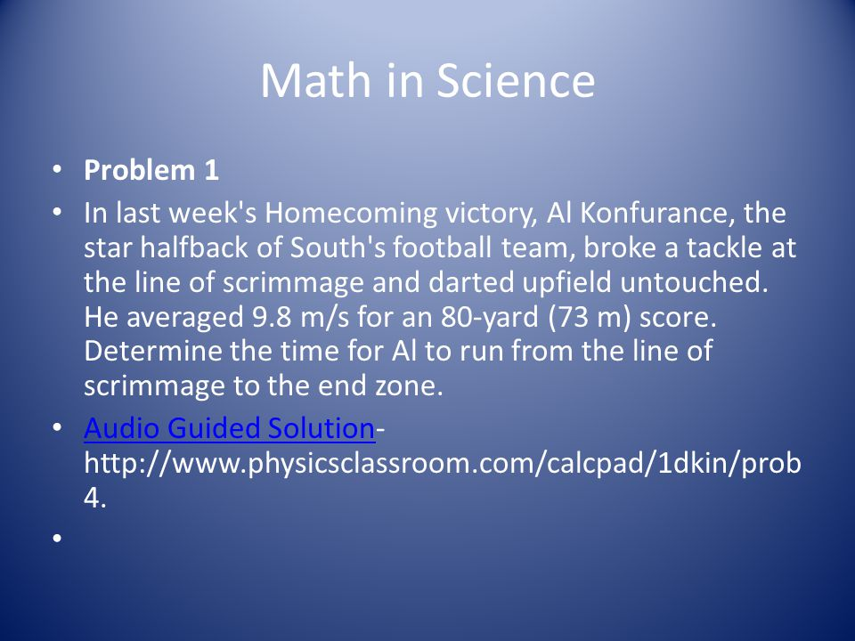 Math in Science Problem 1