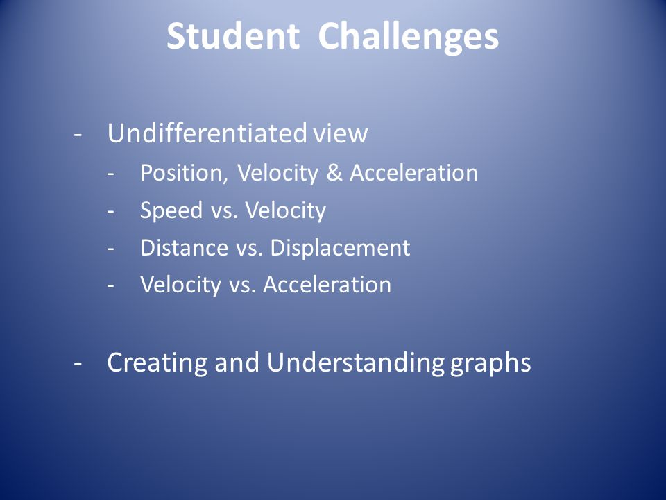 Student Challenges Undifferentiated view