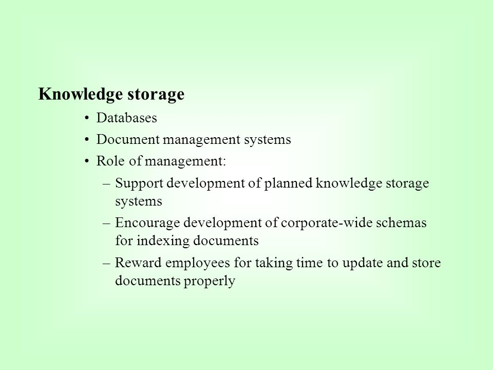 Knowledge storage Databases Document management systems