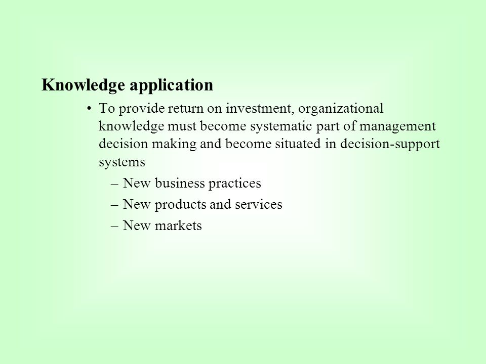 Knowledge application