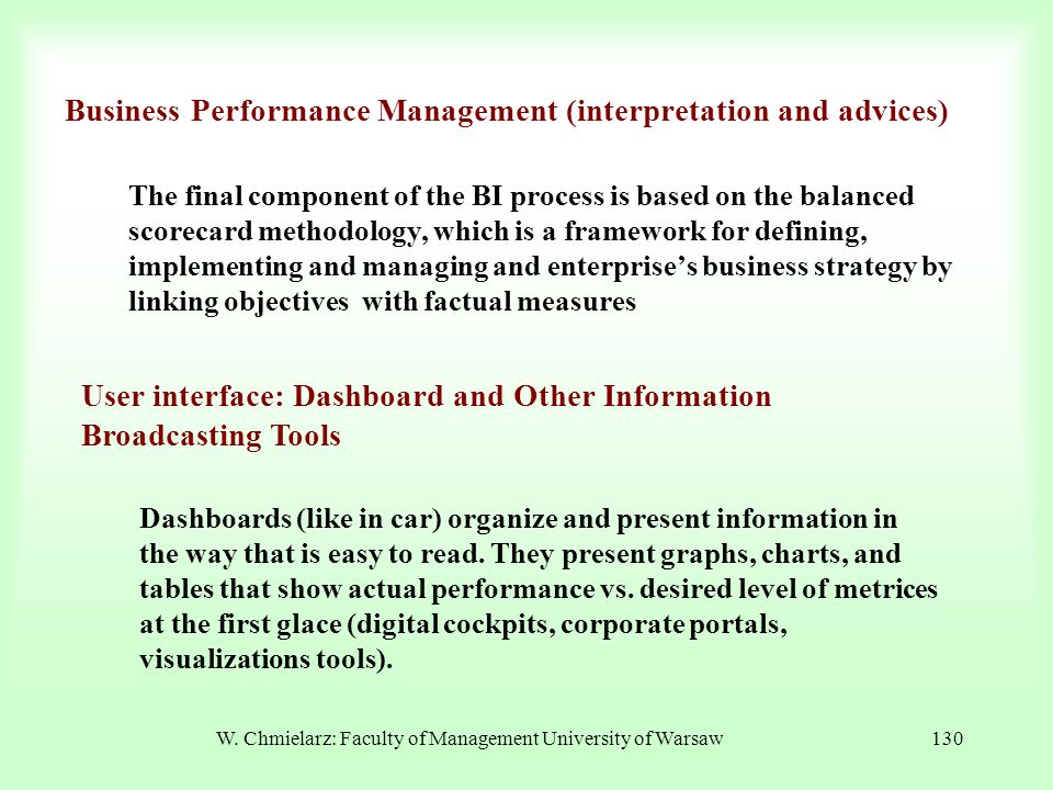 Business Performance Management (interpretation and advices)