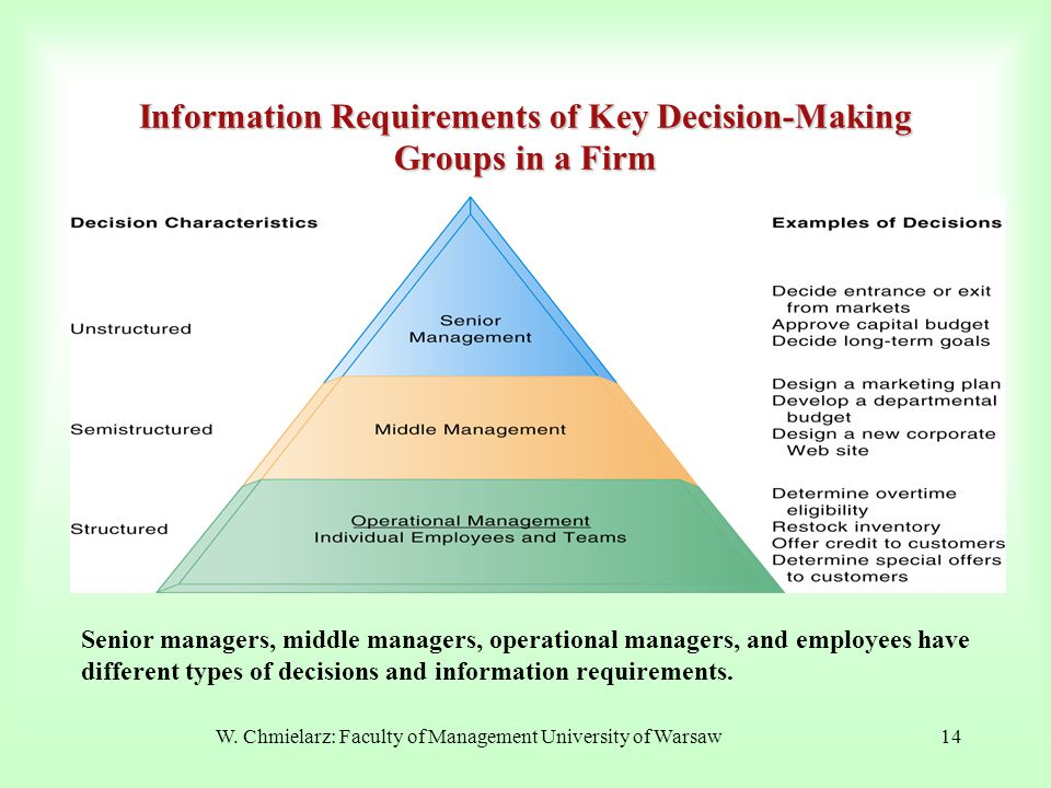 Information Requirements of Key Decision-Making Groups in a Firm