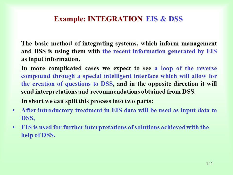 Example: INTEGRATION EIS & DSS