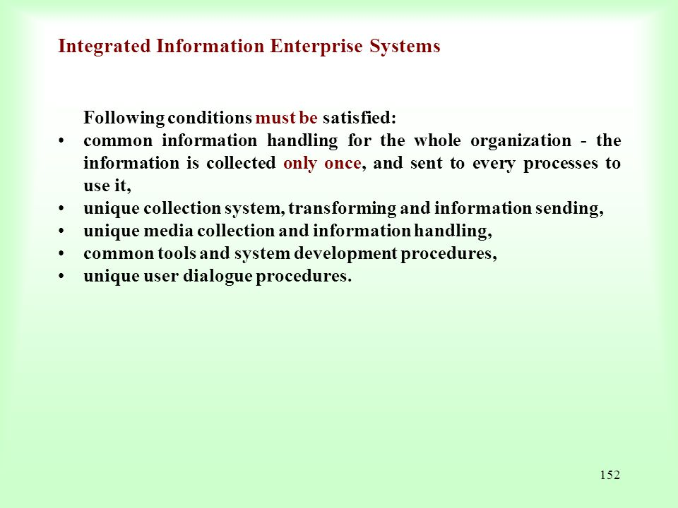 Integrated Information Enterprise Systems