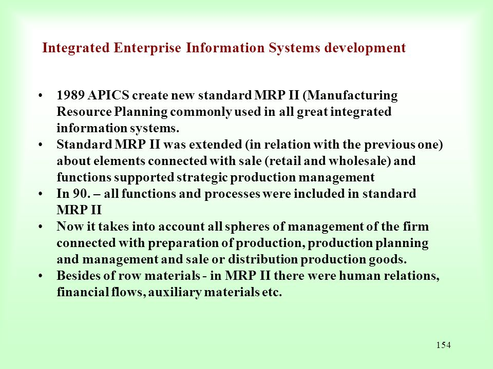 Integrated Enterprise Information Systems development