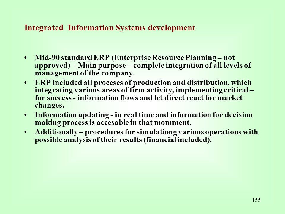 Integrated Information Systems development