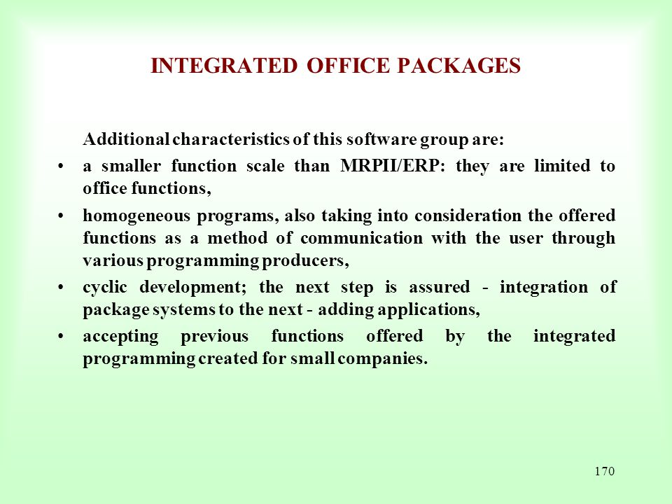 INTEGRATED OFFICE PACKAGES