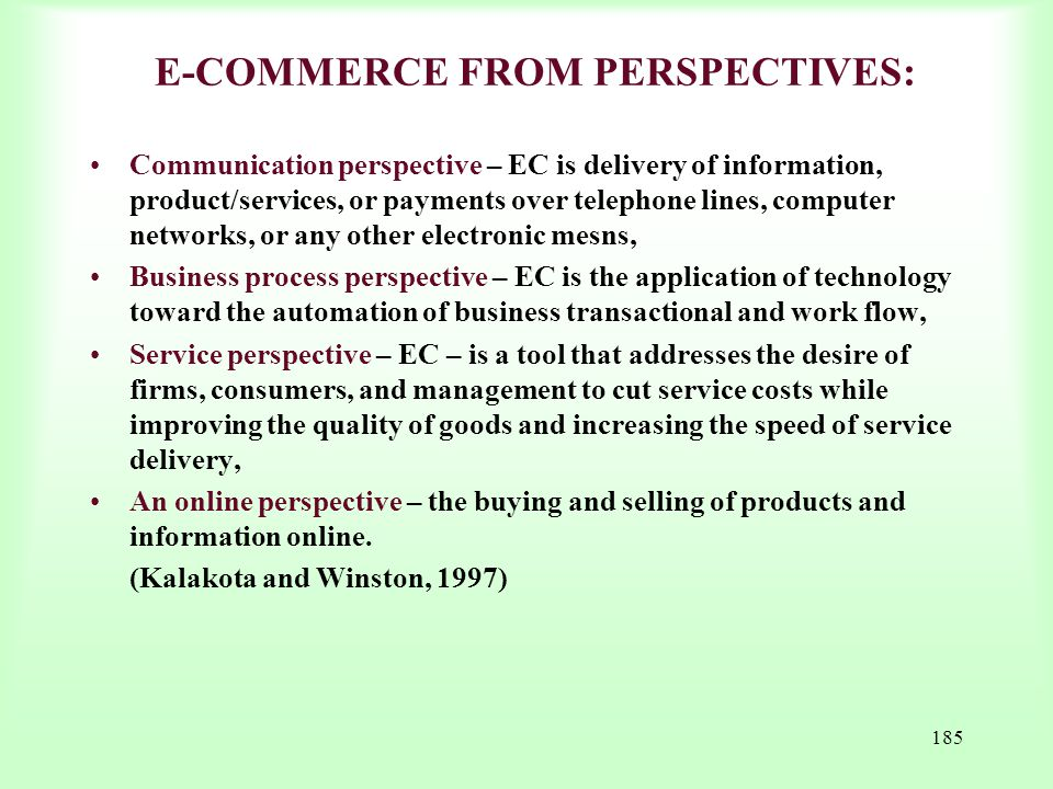 E-COMMERCE FROM PERSPECTIVES: