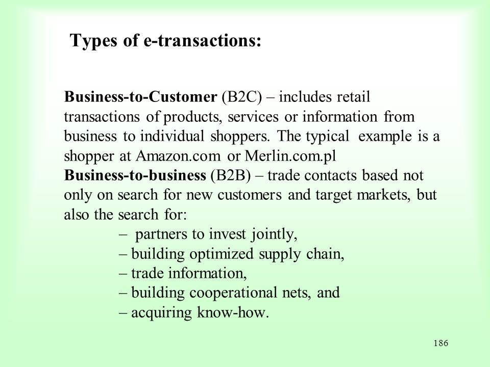 Types of e-transactions: