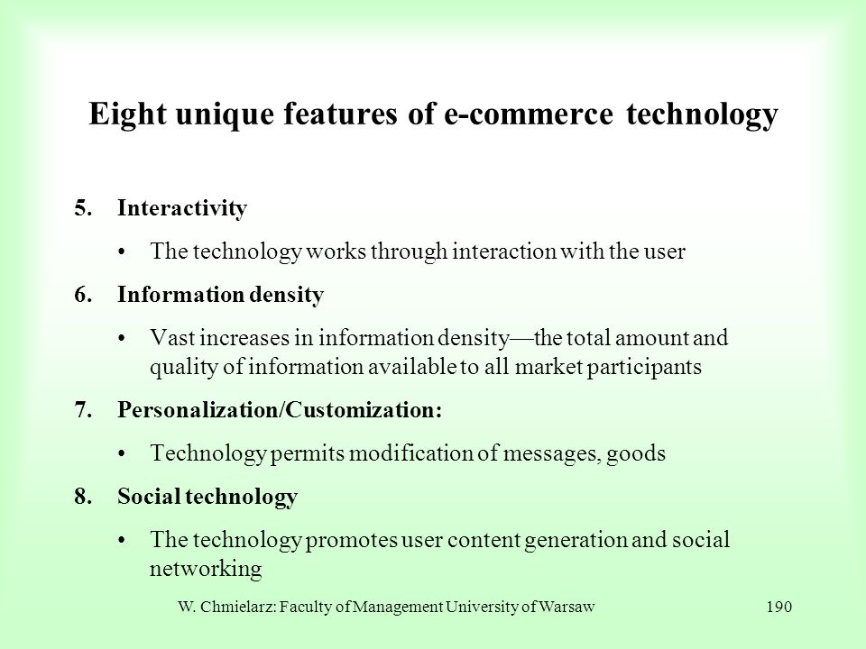 Eight unique features of e-commerce technology