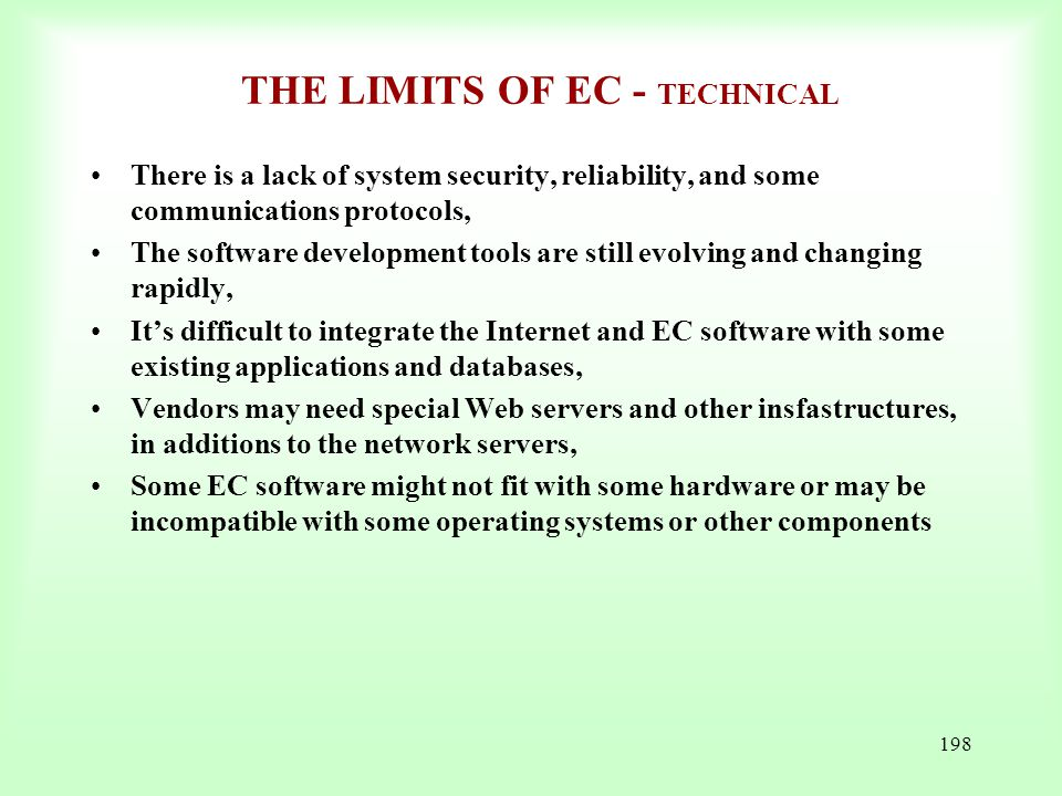 THE LIMITS OF EC - TECHNICAL