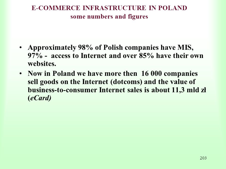 E-COMMERCE INFRASTRUCTURE IN POLAND some numbers and figures