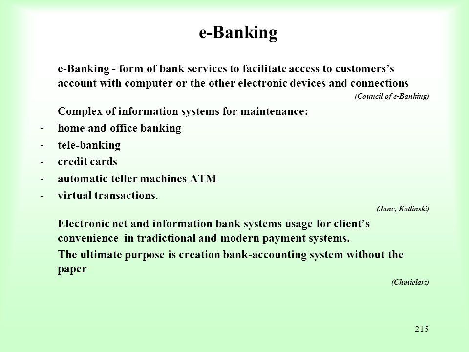e-Banking Complex of information systems for maintenance: